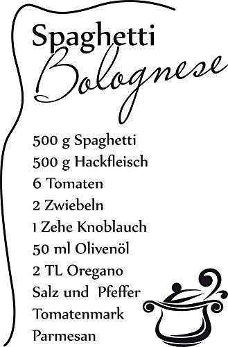 GRAZDesign 620560_40_070 Wandtattoo Küche Spaghetti Bolognese | Küchen-Aufkleber und Tattoo für Deine Wände - Schränke - Fliesen - Möbel | Selbstklebende Klebefolie (61x40cm//070 Schwarz)