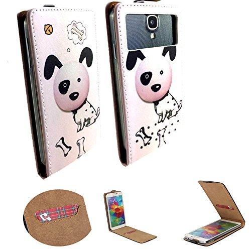 Handy Hülle für - Archos 50e / 50f Neon - Flip Tasche mit Kreditkartenfach - Flip Nano M Hund 2