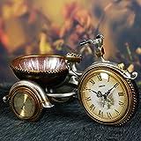 European-Style Retro-Style Uhr Dreirad-Uhr Sprung-Sekunden Stille Bewegung der Sonnenuhr Harz Pendeluhr Stockuhr