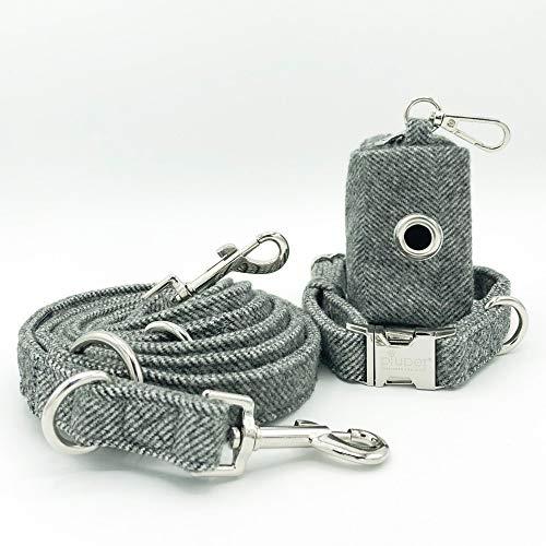 PiuPet® Hundeleine Set mit Halsband, Leine (2m) und Kotbeutelspender | Stilvolle Hunde Leine mit Hundehalsband und Hundekotbeutel Spender | Größe S/M (Halsumfang 33-40cm) (Hundehalsband Mit Leine)