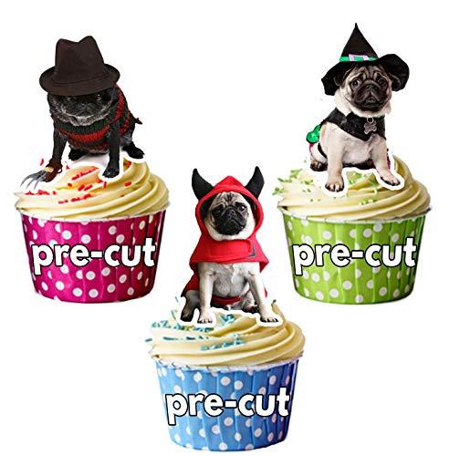 Vorgeschnittene Halloween Möpse In Kostümen – Essbare Cupcake Topper / Kuchendekorationen (12 ()