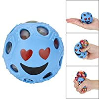 YUYOUG Stress Relief Ball, Novelty Fun Emoji Grape Ball Mesh Squishies Pressure Ball Stress Reliever Toys Magic Gift for Kids and Adults (Blue)