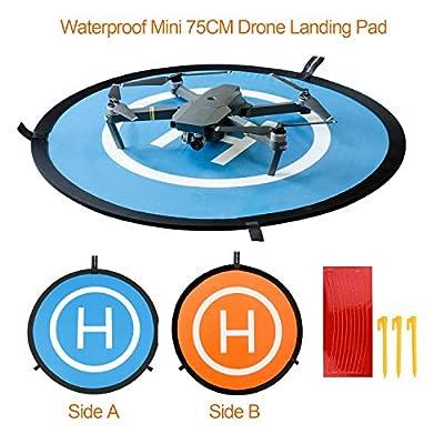 "Drone Landing Pad BELLESTYLE Universal Waterproof 75cm/30"" Foldable Portable Landing Mat for RC Drones Helicopter, PVB Drones, DJI Mavic Pro Phantom 2/3/4/ Pro, Antel Robotic, 3DR Solo"
