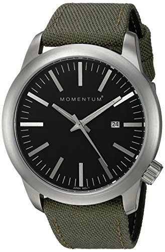 Momentum Men's 'Logic' Quartz Stainless Steel and Canvas Casual Watch, Color:Green (Model: 1M-SP10B6G)
