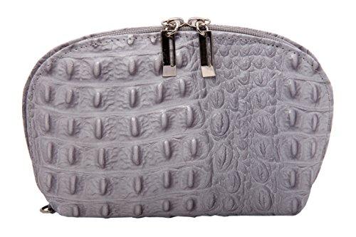LEA XL Schminktasche Kosmetiktasche Makeup Tasche aus echtem Leder in Kroko-Optik für Damen FARBAUSWAHL (Grau)