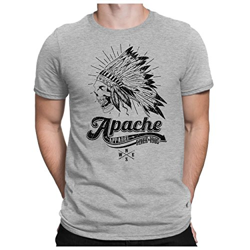 PAPAYANA - APACHE-SKULL - Herren Fun T-Shirt - Indian Apparel Motorcycle Biker - XL Grau Meliert (T-shirt Motorcycle Indian)
