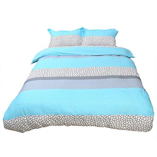 sourcingmap Wasser Würfel Muster Bettdecke Deckel Kissenbezug Bezug Bettwäsche Set Doppel/Queen