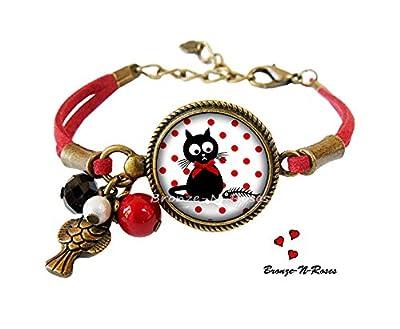 Bracelet Le chat et le poisson cabochon bronze bijou fantaisie pois rouges verre