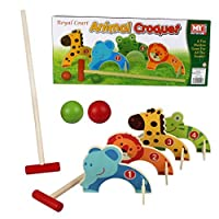 Kids Croquet Golf Toy Set Wooden Animal Garden Outdoor Childrens Play Lawn Games 10