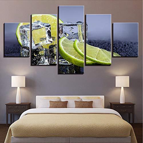 r Küche & Restaurant Wandkunst 5 Stücke Obst Zitrone Eiswürfel Gemälde Wohnkultur Essen Trinken Posterleinwand gemalde wald-30x40/60/80cm,with frame ()