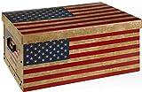 Unbekannt Geschenkbox Aufbewahrungsbox Ordnungsbox Stapelbox Dekokarton 49x39x24cm mit Deckel und Tragegriffen USA Stars and Stripes