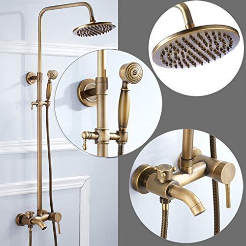 BBYaki Duscharmatur Set Vintage Messing Duschsystem mit Regenduschkopf, Handbrause und Badewannenarmatur Regenduschkopf Set Antikmessing (Delta Duschkopf Bronze)