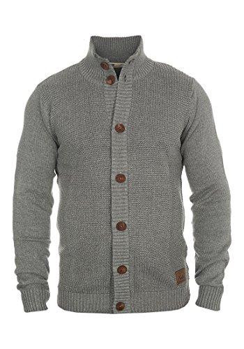 SOLID Trey Herren Strickjacke Cardigan Grobstrick mit Stehkragen aus  hochwertiger Baumwollmischung Meliert Grey Melange