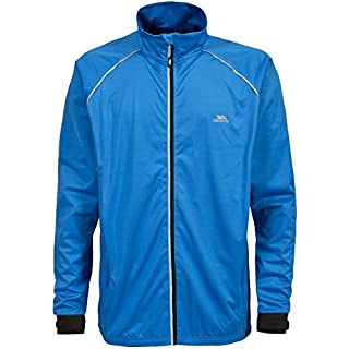 Trespass Blocker, Bright Blue, M, Packaway Waterproof Active Jacket with Reflektive Details for Men, Medium, Blue