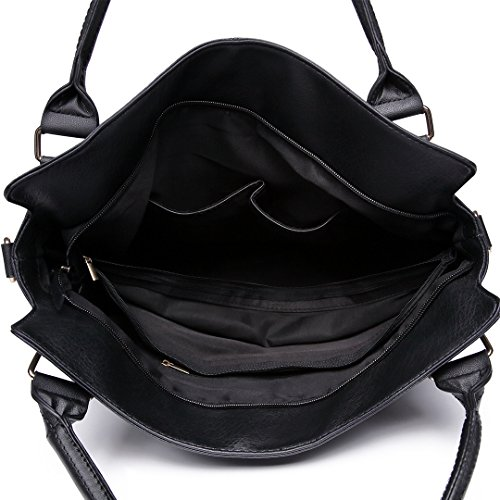 Miss Lulu Handtasche Damen Aktentasche Elegant PU-Leder Shopper Henkeltasche Crossbody-Tasche Schwarz