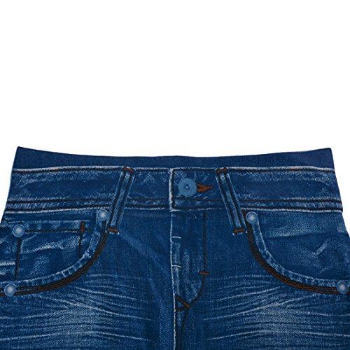 Vertvie Femme Leggings Pantalon Crayon Slim Jeans Imitation Collant Élastique Bleu