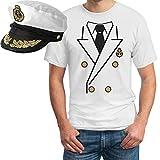 Kapitän Kostüm Herren Shirt + KAPITÄNSMÜTZE T-Shirt Medium Weiß