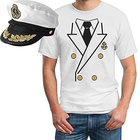 Kapitän Kostüm Herren SHIRT + KAPITÄNSMÜTZE T-Shirt XXXX-Large Weiß (Kostüm Made T Shirts)