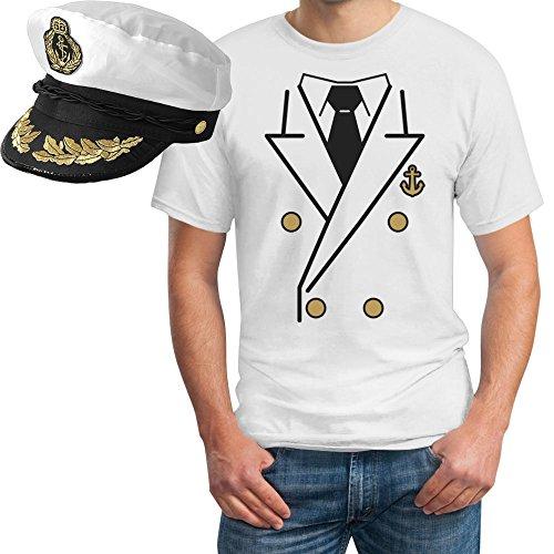 (Kapitän Kostüm Herren Shirt + KAPITÄNSMÜTZE T-Shirt XX-Large Weiß)