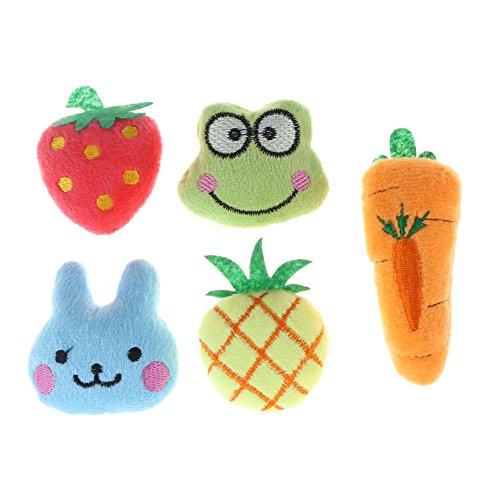 macrorun 5x Fruit Animal Serie Soft Plüsch Baumwolle Katze Hund kauen Spielzeug Pet Toys -