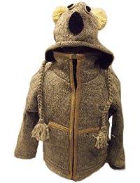 Kids Koala Jacket - Handknitted Fair Trade Woollen Childs Animal Jacket - Koala