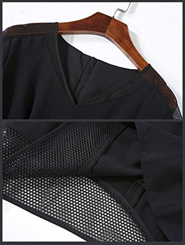 LAI MENG Damen Elegant V-Ausschnitt Cocktailkleid Mit Netzstoffeinsatz Kurzarm Partykleid Business Sommer kleid Abendkleid Schwarz Schwarz