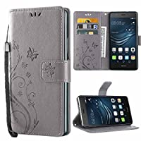 Huawei P9 Lite Case,iDoer P9 Lite Leather Butterfly Pattern Folio Flip Wallet Cover and PU Case with Stand Lanyard Card Holders Slots Magnetic Closure Protective Case for Huawei P9 Lite - Grey