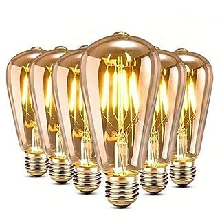 Edison Glühbirne, [ 6 Stück ] Genmer E27 4W Edison Vintage Glühbirne LED Lampe Warm gelb, Amber Glas LED Filament Dekorative Lampe (2300K, 360-400LM), Ideal für Haus Café Bar usw [Energieklasse A++]