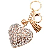 BZLine Liebe Strass Keychain Taschen Handtasche Schlüsselring Auto Schlüssel Anhänger (Gold)