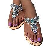 Pinke Frauen Trend Sandalen Strand Schuhe - Damen Hausschuhe Zehentrenner Flip Flop Schuhe, Flach Strasssteine Pantoffeln Splitter 40