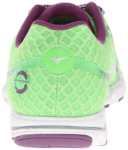 Mizuno Wave Hitogami Synthétique Chaussure de Course Green-Silver-Purple