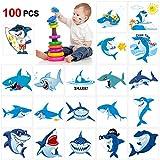 Howaf 100 Piezas tiburón Tatuajes temporales para niños, Falso Tatuaje Temporal Pegatinas para niños Infantiles Fiesta de cumpleaños, Piñata y Regalos para niños, niñas