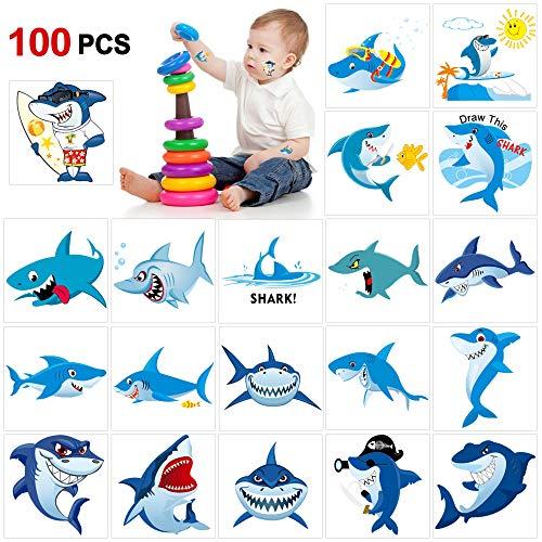 Howaf 100 Sortierte Hai Kinder Tattoos Set, Delfine temporäre Tattoos Aufkleber für Junge Mädchen Kindergeburtstag Mitgebsel Kinder Spielen