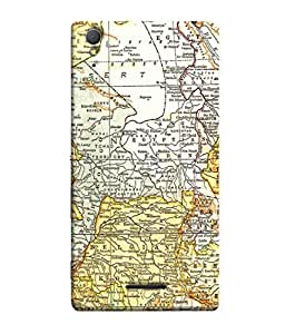 Fuson Designer Back Case Cover for Sony Xperia T3 (Travel Map Sail World Tour Pirates)