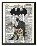Signature Studios Super-héros Batman Imprimé Justice League DC Comics Super-héros Dessin de Dictionnaire Batman sur WC Humour de Salle de Bain 20,3 x 25,4 cm