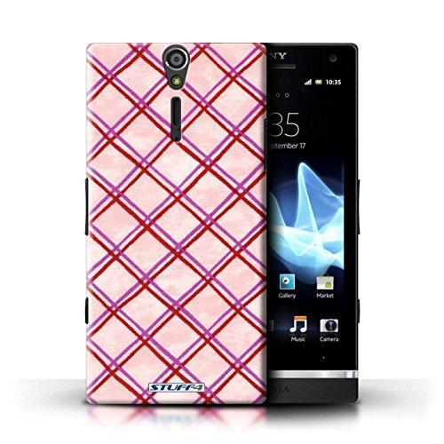 Kobalt® Imprimé Etui / Coque pour Sony Xperia S/LT26i / Rouge conception / Série Motif Entrecroisé Rose/Rouge