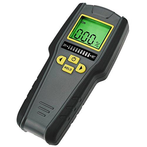 Pinless Moisture Meter (4-in-1 Pinless Feuchtemesser, Digital LCD mit Tricolor Bar Grafik für Trockenbau, Mauerwerk, Nadelholz und Laubholz mit Auto Kalibrierung & Alarm)