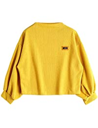 OIKAY Tumblr Pullover Damen Lantern Sleeve Badge Patched Rundhalsausschnitt  Langarm Lose Bluse Strickpulli Hemd… 6403e589b5