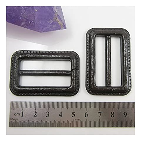 2 x BLACK or BROWN IMITATION LEATHERETTE EFFECT BUCKLES FOR COATS JACKETS & BAGS (40mm (H2309), BROWN)