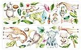 Wandtattoo Kinderzimmer Deko Aquarell Wandtattoo Safari Tiere Dschungeltiere bu