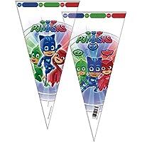 ALMACENESADAN 0971, Pack 6 Bolsas Cono para chuches PJ Masks, para Fiestas y cumpleaños