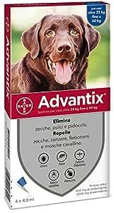advantix Bayer 4484286, Spot-on Per Cani Oltre 25 kg fino a 40 kg, 4 x 4 ml