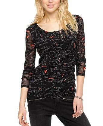 s.Oliver BLACK LABEL Damen Langarmshirt 11.401.31.4717, Gr. 46, Mehrfarbig (grey/black AOP)
