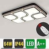 Hengda® 64W Wohnzimmerlampe LED Deckenleuchte Modern Mit Fernbedienung Dimmbar IP44 Rechteckig Esszimmerlampe Büros Lampe Küchenleuchte Schlafzimmerleuchte [Energieklasse A++]