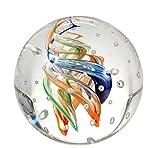 Traumkugel 172 Glaskugel, bunte Spiralen mit vielen Blasen, Briefbeschwerer, Wunschkugel ca. 6,5 - 7 cm