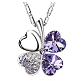 Chaomingzhen Purple Leaf Lucky Clover Pendant Necklace Women Austrian Crystal