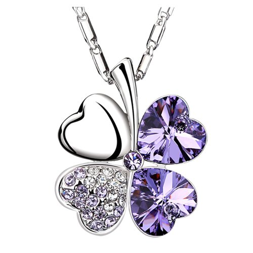 Chaomingzhen Purple Heart Four Leaf Clover Pendant Necklace Women Crystal White Gold Plated