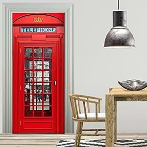 t rtapete selbstklebend t rposter london telefonzelle fototapete t rfolie poster tapete. Black Bedroom Furniture Sets. Home Design Ideas