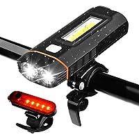 Juego de Luces para Bicicleta, WZTO 500 Lumens Lámparas LED para Bicicleta USB Recargable IPX4 Impermeable, 5 Modos de Lluminación, Capacidad de la Batería de 4000 mAh