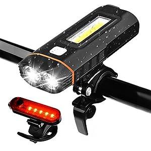 51BAeBSjOLL. SS300 WZTO Luci per Bicicletta,Luce della Bici USB Ricaricabile LED Impermeabile Set LED Luci Anteriori e Posteriori 500 Lumen per Esterni Ciclismo Tutti i Tipi di Sport (Nero)